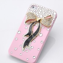 New Bling Crystal Sparkle Big Metallic Bow Rhinestones iPhone 4/4S Case