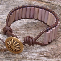 Brown Leather and Shell bead bracelet with Button Toggle