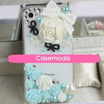 New Bling Crystal Sparkle White And Blue Roses Bows iPhone 4/4S Case