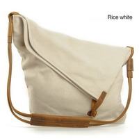 leather shoulder strap canvas shoulder bags for women - Thumbnail 3