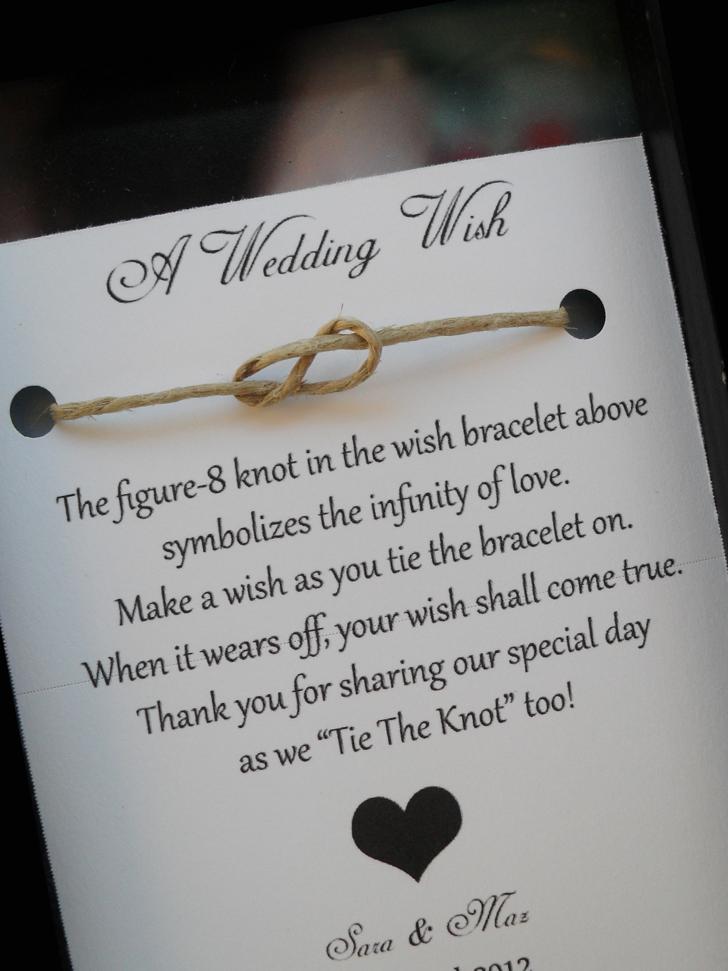 Wedding Gifts For Parents The Knot : Wedding Wish Bracelet - Wedding Favor- Favors-Personalized