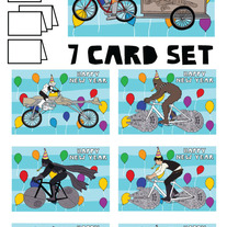 Star Wars on bikes New Year 7 card set