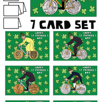 Coin wheeled bikes St patricks 7 card set