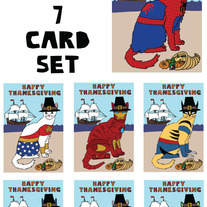 Cat dressed as comics Thanksgiving 7 card set