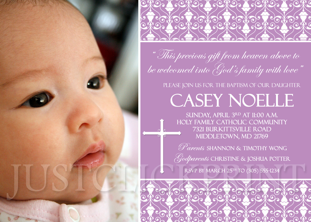 Damask baptism christening dedication photo invitation pink purple damask baptism christening dedication photo invitation pink purple any color thumbnail 1 stopboris
