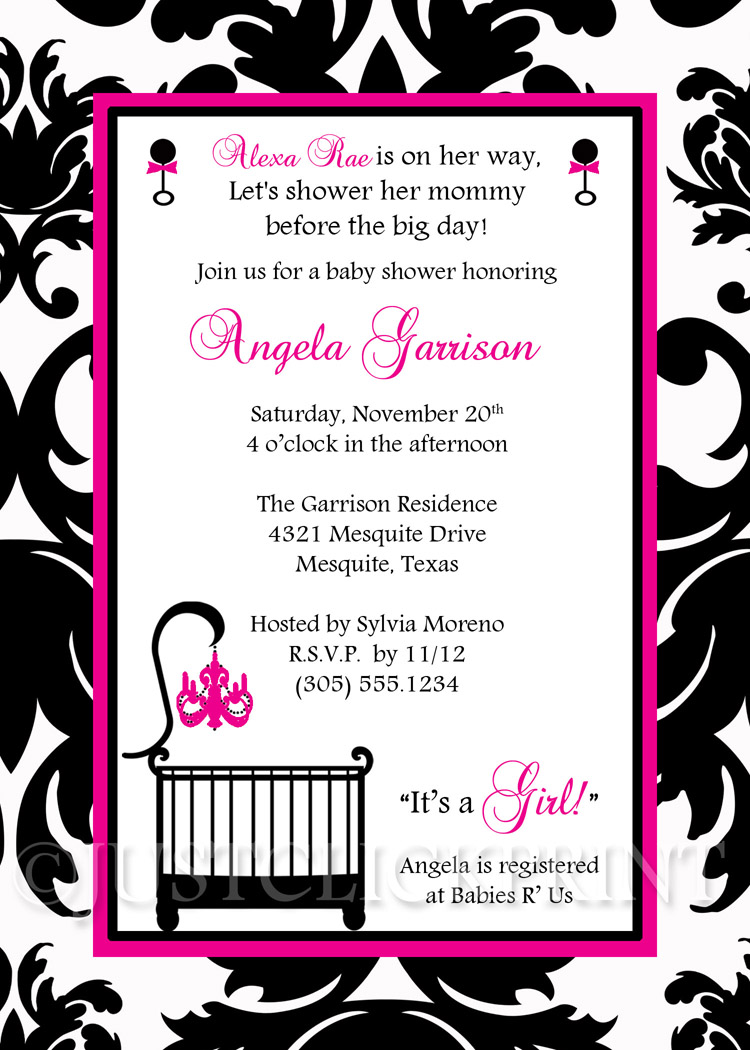 Elegant White Black Hot Pink Damask Baby Shower Invitation Printable ...