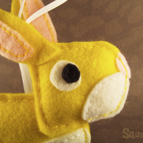 Bunny, Felt Animal Ornament - Edmund the rabbit