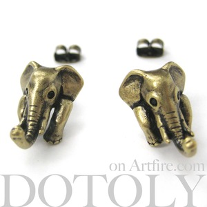 Miniature Elephant Realistic Animal Stud Earrings in Bronze