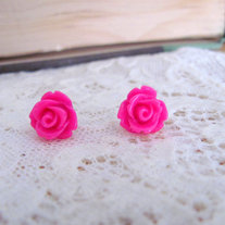 Tiny Rosebud Stud Earrings - 5 Different Color Choices