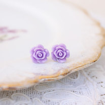 Full Bloom Rosebud Studs - 5 Pastel Color Choices