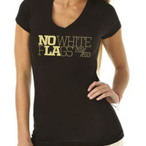 TG Black & Gold No White Flags Ladies V-neck Tee