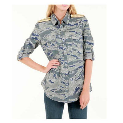 Studded camouflage button down