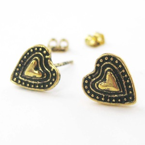 Small Heart Love Stud Earrings in Bronze with Textured Detail