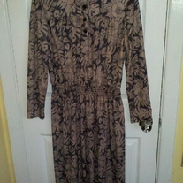 Sally Lou Light Brown and Black Patterned Dress Sz 12