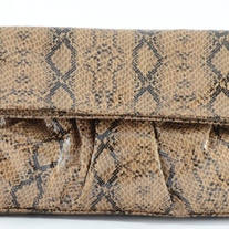 Steve Madden Small Fold-Over Clutch w/Handle (Snakeskin)