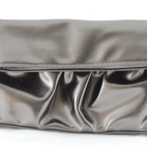 Steve Madden Small Fold-Over Clutch w/Handle (Pewter)