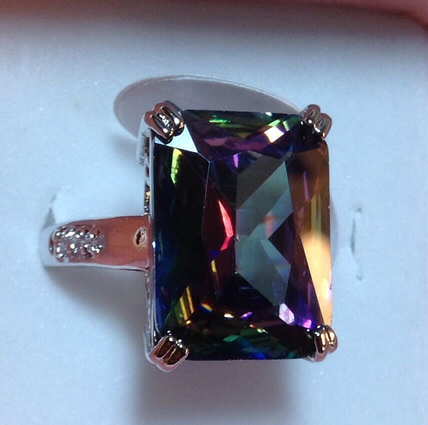 emerald cut mystic topaz cocktail ring