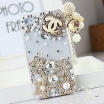 New Bling Crystal Wooden Luxury Designer Logo Tassel iPhone 4/4S Case