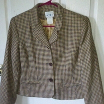Cricket Lane Petite Houndstooth Blazer Sz 10