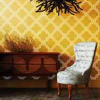 "Sunset in Morocco Wall Damask Old world Allover Designer Pattern Stencil better than wallpaper or vinyl decals Home Decor Size 22"" x 34"""