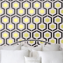 Hexagon inspired by iconic David Hick's Hexagon Geometric Pattern Wall Room Stencil Home Decor better then vinyl decals Wallpaper