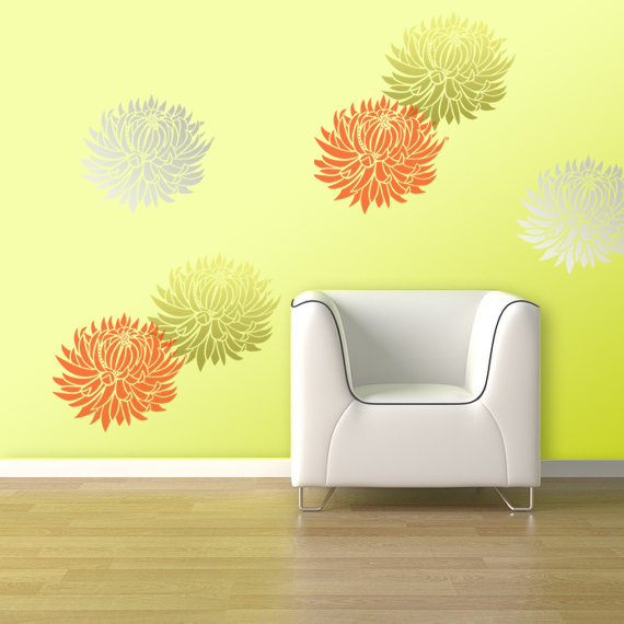 Large wall stencils flowers submited images - Flower stencils for walls ...