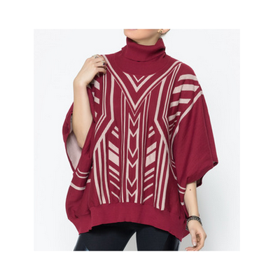 Red tribal poncho