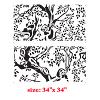 Panda Bears on The Tree Forest Branches Kids room decor Designer Stencil Pattern for Walls Decor - Thumbnail 1