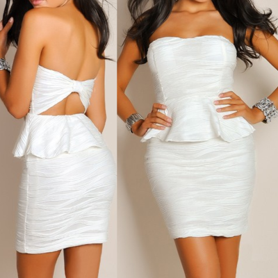 Textured strapless peplum dress small