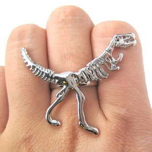 Adjustable T-Rex Skeleton Bones Animal Ring in Shiny Silver