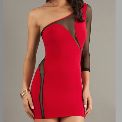 Single sleeve mesh dress (2 colors available)