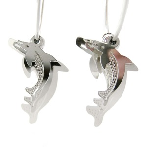 Unique Dolphin Shaped Animal Themed Dangle Hoop Earrings in Silver