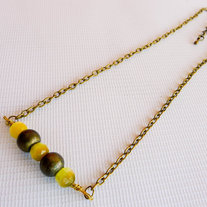 Lemon and Brass Bead Necklace