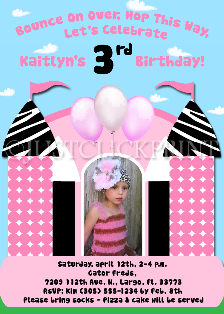 Bounce house fun zebra girls birthday invitation just click print bounce house fun zebra girls birthday invitation stopboris