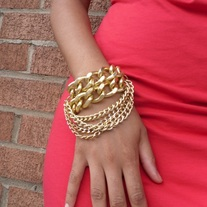 """Big G"" Gold Chain Bib Bracelet"
