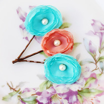 Aqua and Salmon - Set of 3 Flower Bobby Pins