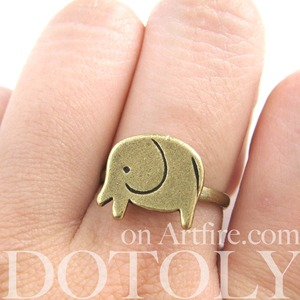 SALE - Simple Elephant Animal Adjustable Ring in Bronze