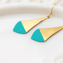 Teal Pointed Color Dipped Brass Earrings