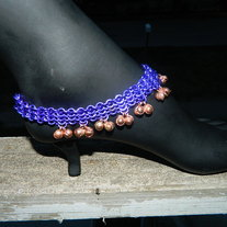 Chain maille cuff with bells