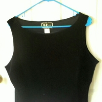R&K Evening Black Velvet Cropped Tank Top Sz 18