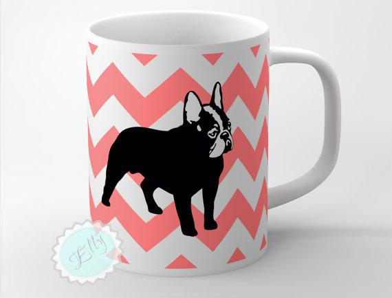 french bulldog on coral chevron custom coffee mug  personalized gift   free coaster  u00b7 nestgiftco