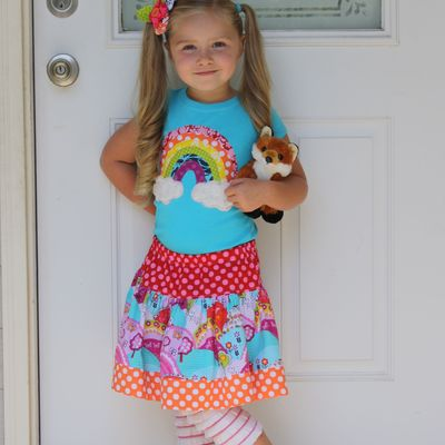 Over the rainbow shirt and skirt set