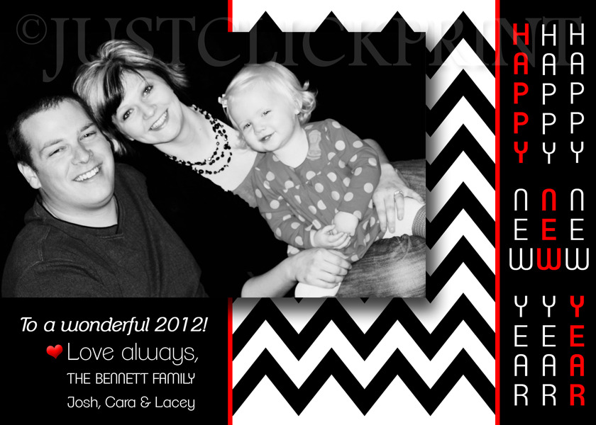 mod chevron happy new year family photo card printable just click print online store powered by storenvy