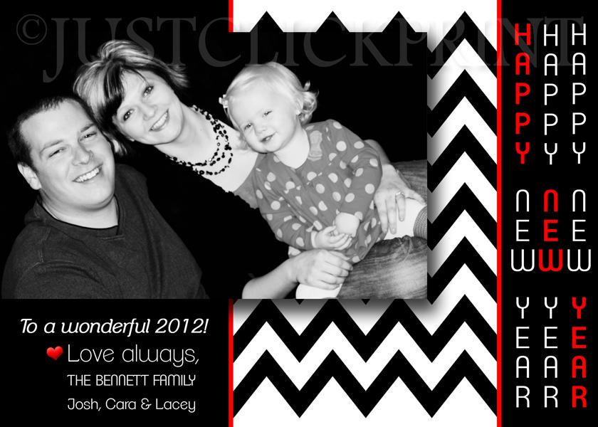 mod chevron happy new year family photo card printable
