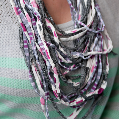 Upcylced noodle t-shirt scarf {pink/purple/grey}}