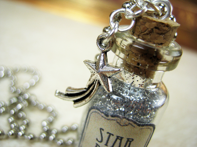 mermaid shell ocean tears star pendant itm sea bottle necklace glass jewelry wishing