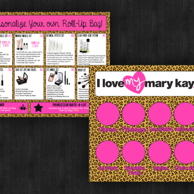 Marykay leopard & pink tray inserts & closing sheets set