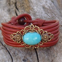 Red Leather Bracelet with Antique Gold Filigree And Amazonite Stone