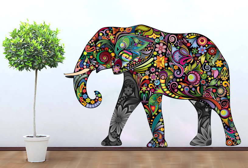 Colorful elephant floral sticker wall print art for Elephant wall mural