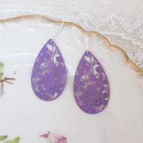 Purple Filigree Teardrop Earrings